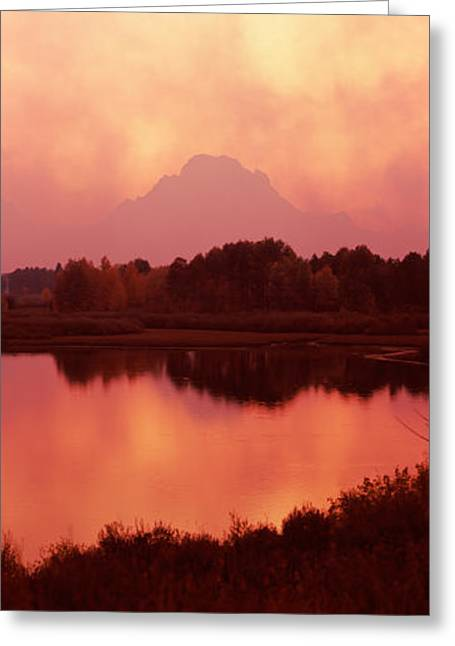 Reflection Of A Mountain In A River Greeting Card by Panoramic Images