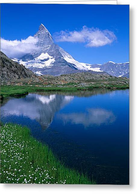 Reflections In River Greeting Cards - Reflection Of A Mountain In Water Greeting Card by Panoramic Images
