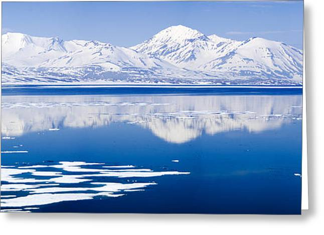 Svalbard Greeting Cards - Reflection Of A Mountain Range In An Greeting Card by Panoramic Images