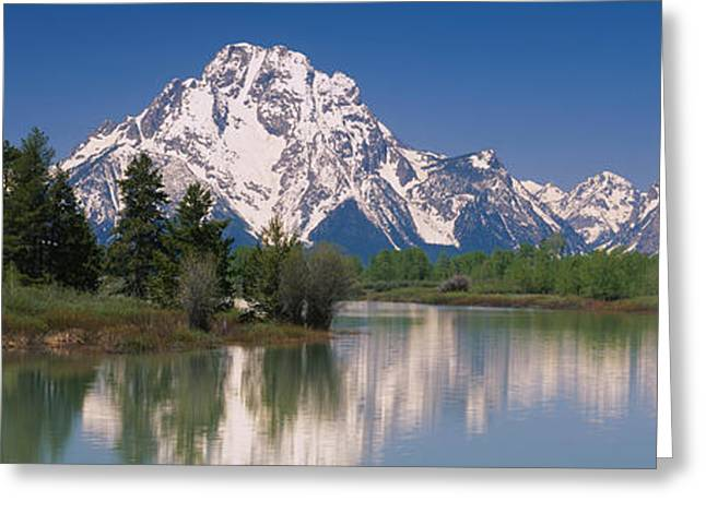 Reflections In River Greeting Cards - Reflection Of A Mountain Range Greeting Card by Panoramic Images
