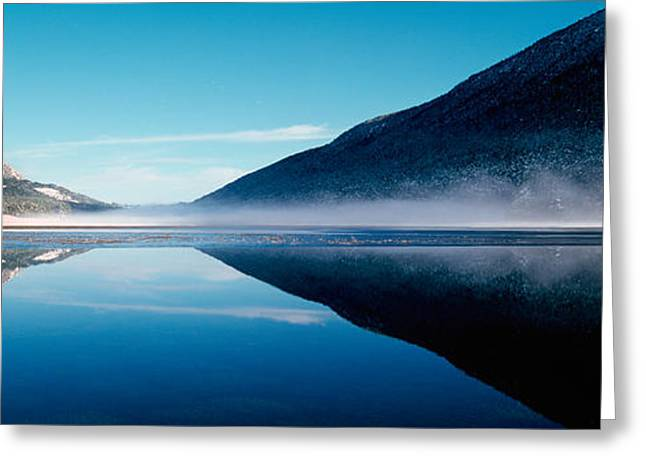 Reflection Of A Mountain With Snowy Greeting Card by Panoramic Images