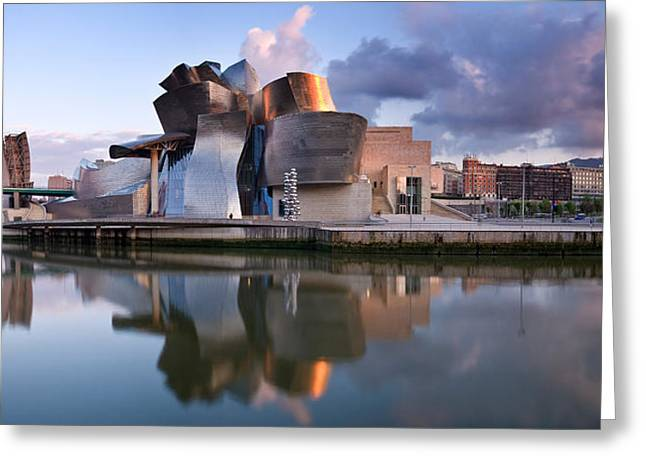 Reflection Of A Museum On Water Greeting Card by Panoramic Images