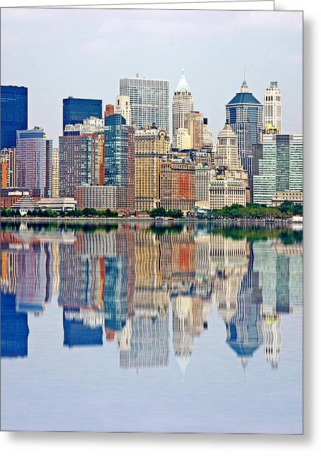 New England Village Greeting Cards - Reflection of a New York Skyline Greeting Card by Evan Peller