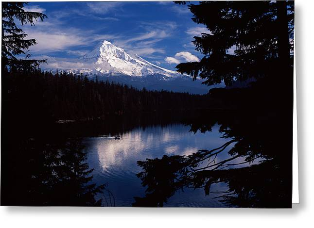Hood River Greeting Cards - Reflection Of A Snow Covered Mountain Greeting Card by Panoramic Images