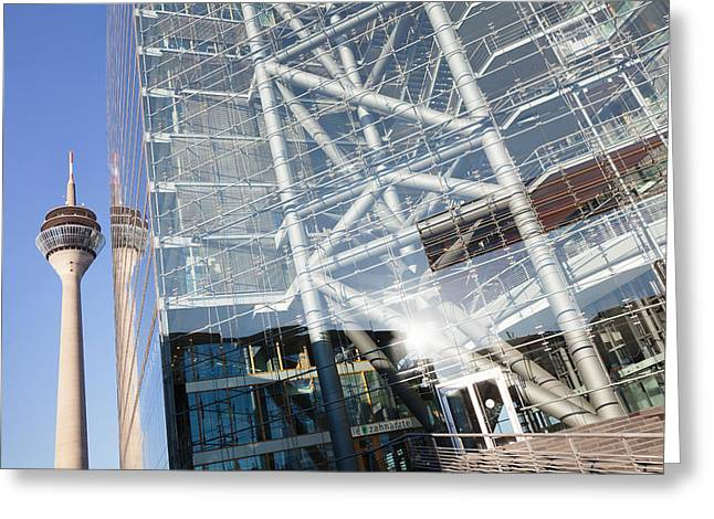 Communications Tower Greeting Cards - Reflection Of A Tower On A Office Greeting Card by Panoramic Images