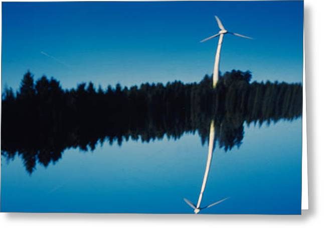 Surreal Photography Greeting Cards - Reflection Of A Wind Turbine And Trees Greeting Card by Panoramic Images