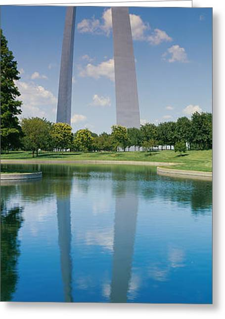 Stainless Steel Greeting Cards - Reflection Of An Arch Structure Greeting Card by Panoramic Images