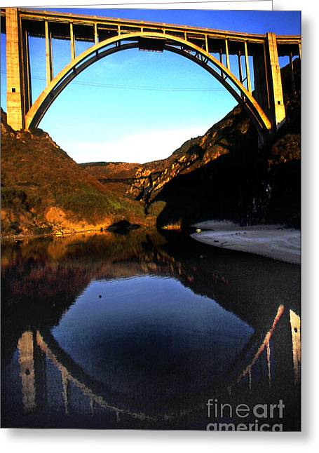 Coast Highway One Greeting Cards - Reflection of Bixby Creek Bridge from Bixby Beach California 1999 Greeting Card by California Views Mr Pat Hathaway Archives