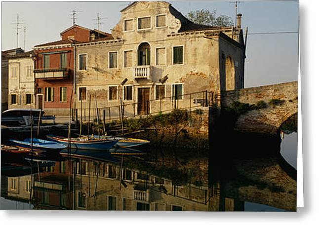 Residential Structure Greeting Cards - Reflection Of Boats And Houses Greeting Card by Panoramic Images