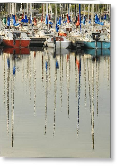 Boats In Harbor Greeting Cards - Reflection of boats in marina Greeting Card by Peter v Quenter