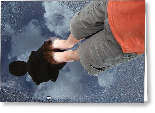 Reflexions Greeting Cards - Reflection of boy in a puddle of water Greeting Card by Matthias Hauser