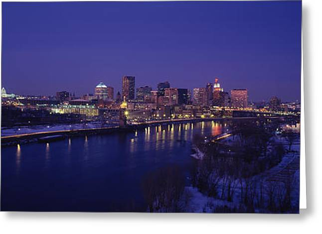 Mississippi River Scene Greeting Cards - Reflection Of Buildings In A River Greeting Card by Panoramic Images