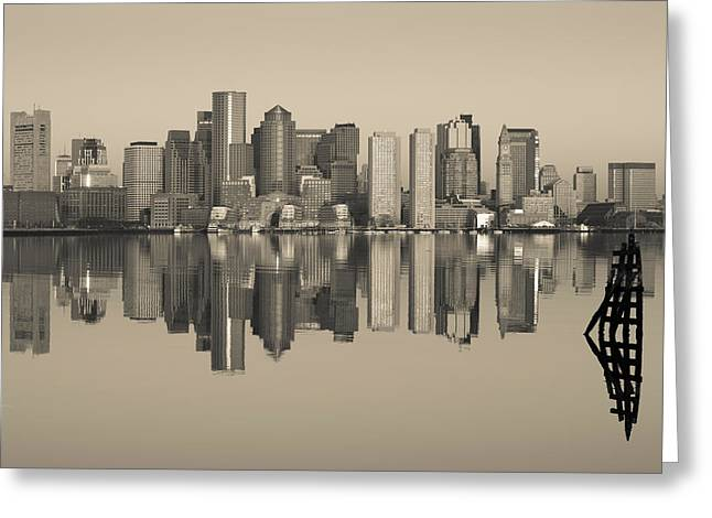 International Airports Greeting Cards - Reflection Of Buildings In Water Greeting Card by Panoramic Images