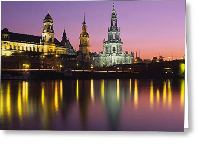 Dresden Greeting Cards - Reflection Of Buildings On Water At Greeting Card by Panoramic Images