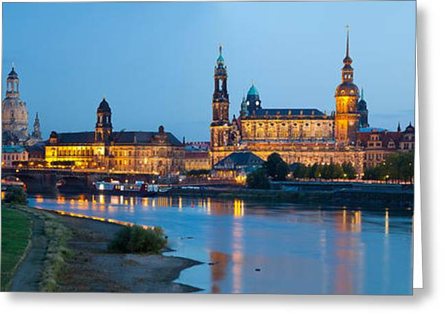 Frauenkirche Greeting Cards - Reflection Of Buildings On Water Greeting Card by Panoramic Images