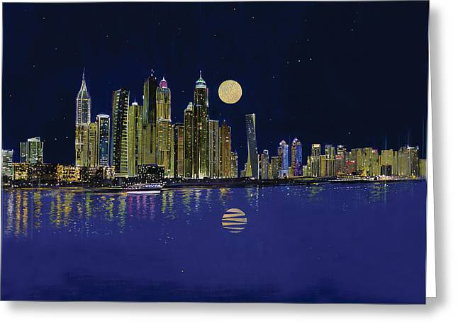 Contemporary Night Scape Greeting Cards - Reflection of city Greeting Card by Art Tantra