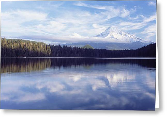 Reflections In River Greeting Cards - Reflection Of Clouds In A Lake, Mt Hood Greeting Card by Panoramic Images