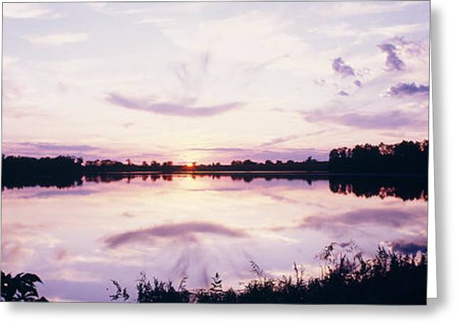 Reflection In Water Greeting Cards - Reflection Of Clouds In A Lake Greeting Card by Panoramic Images