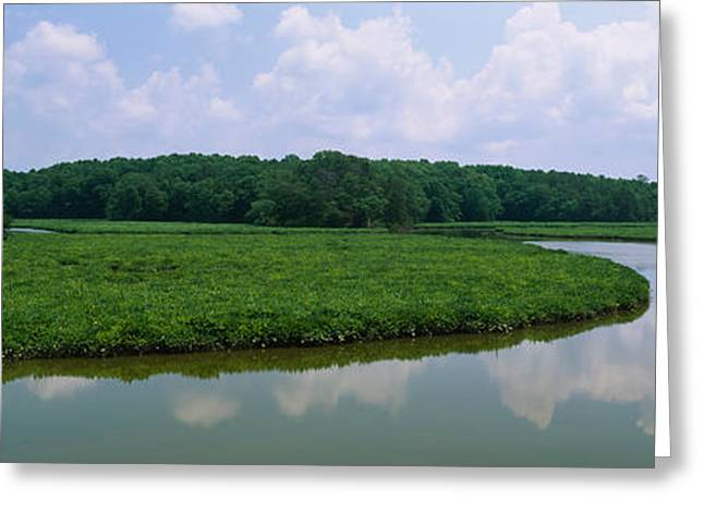 Williamsburg Greeting Cards - Reflection Of Clouds In Water, Colonial Greeting Card by Panoramic Images