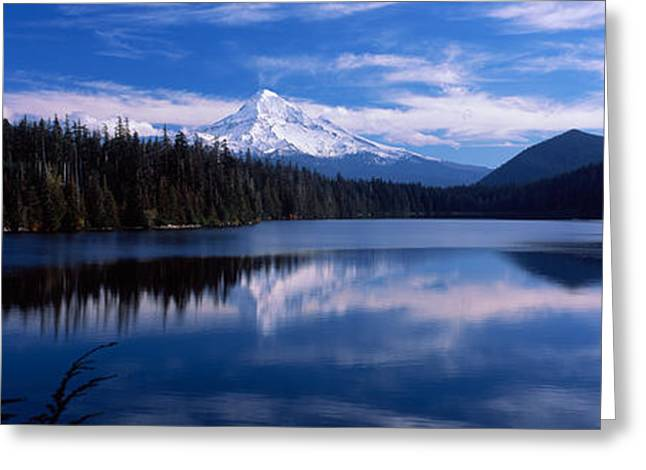 Hood River Greeting Cards - Reflection Of Clouds In Water, Mt Hood Greeting Card by Panoramic Images