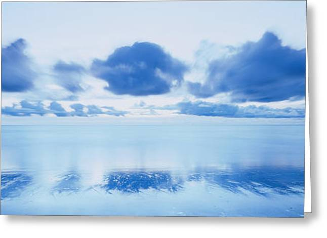 Ocean. Reflection Greeting Cards - Reflection Of Clouds On Water, Foxton Greeting Card by Panoramic Images