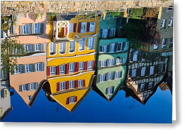 Reflection Of Colorful Houses In Neckar River Tuebingen Germany Greeting Card by Matthias Hauser