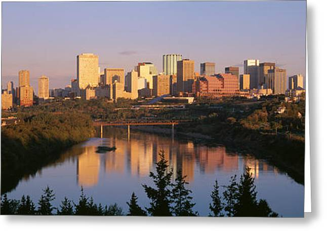 Saskatchewan Photographs Greeting Cards - Reflection Of Downtown Buildings Greeting Card by Panoramic Images