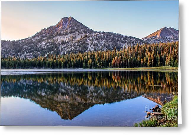 Haybale Greeting Cards - Reflection Of Gunsight Mountain Greeting Card by Robert Bales