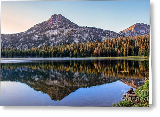 Reflection Of Gunsight Mountain Greeting Card by Robert Bales
