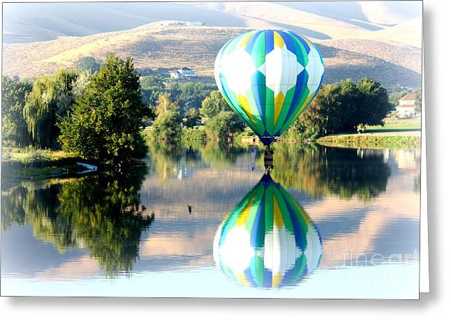 Carol Groenen Greeting Cards - Reflection of Hills and Hot Air Balloon Greeting Card by Carol Groenen