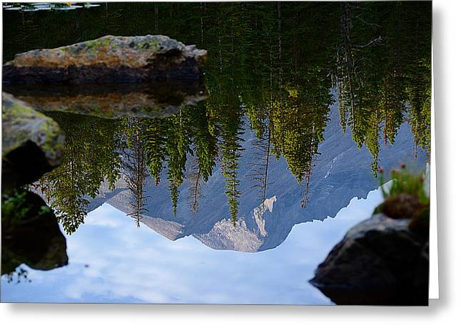 Reflection of Longs Peak Greeting Card by Tranquil Light  Photography