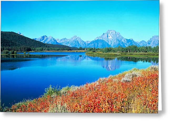 Panorama Mountain Images Greeting Cards - Reflection Of Mountain In A River Greeting Card by Panoramic Images