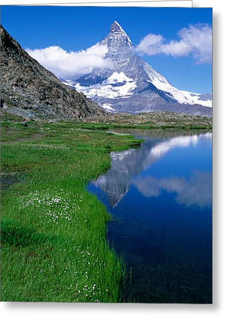 Reflection Of Mountain In Water Greeting Card by Panoramic Images