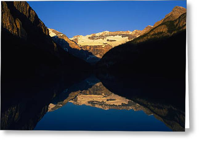 Lake Louise Greeting Cards - Reflection Of Mountains In A Lake, Lake Greeting Card by Panoramic Images