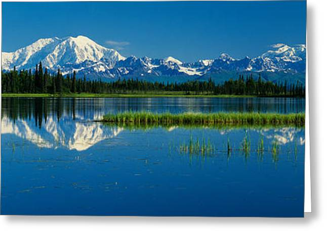 Denali National Park Greeting Cards - Reflection Of Mountains In Lake, Mt Greeting Card by Panoramic Images