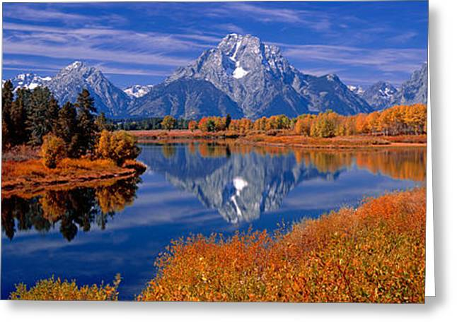 Reflection Of Mountains In The River Greeting Card by Panoramic Images