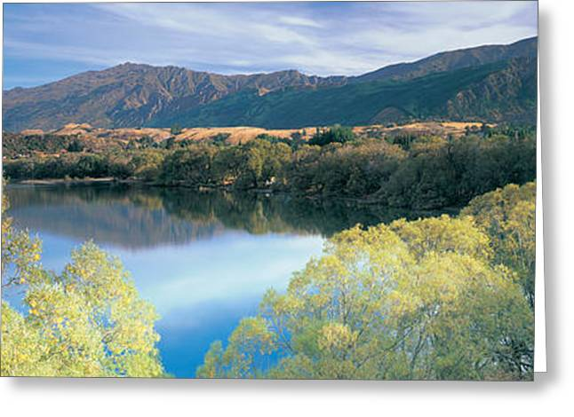 Reflection In Water Greeting Cards - Reflection Of Mountains In Water, Lake Greeting Card by Panoramic Images