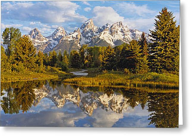 Reflection Of Mountains On Water Greeting Card by Panoramic Images