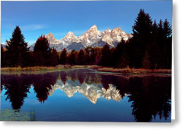 Reflections In River Greeting Cards - Reflection Of Mountains With Trees Greeting Card by Panoramic Images