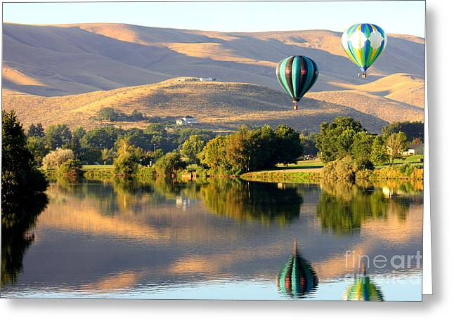 Rally Greeting Cards - Reflection of Prosser Hills Greeting Card by Carol Groenen