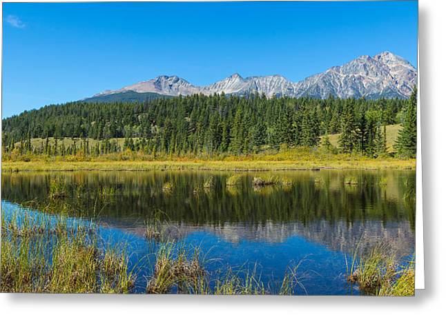 Park Scene Greeting Cards - Reflection Of Pyramid Mountain Greeting Card by Panoramic Images