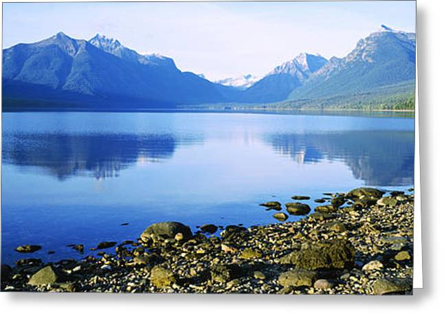 Urban Images Greeting Cards - Reflection Of Rocks In A Lake, Mcdonald Greeting Card by Panoramic Images