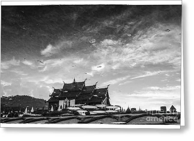 Reflection of royal park Rajapruek temple in the water  Greeting Card by Setsiri Silapasuwanchai