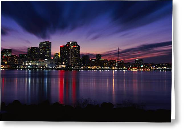 Illuminate Greeting Cards - Reflection Of Skyscrapers On Water Greeting Card by Panoramic Images