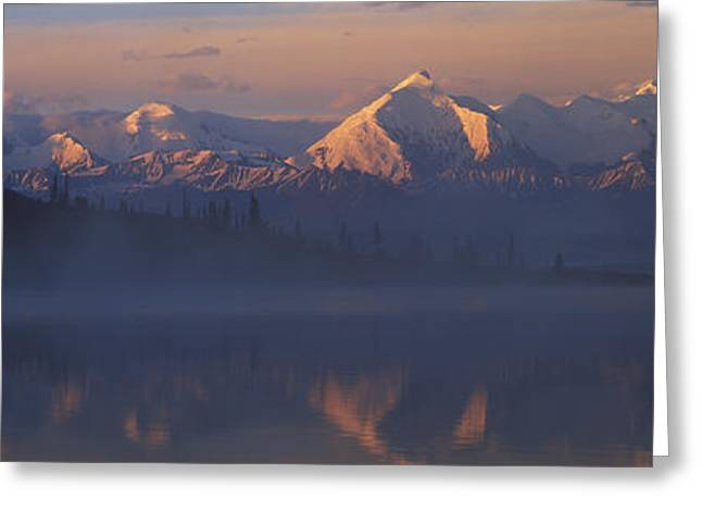 Denali National Park Greeting Cards - Reflection Of Snow Covered Mountain Greeting Card by Panoramic Images