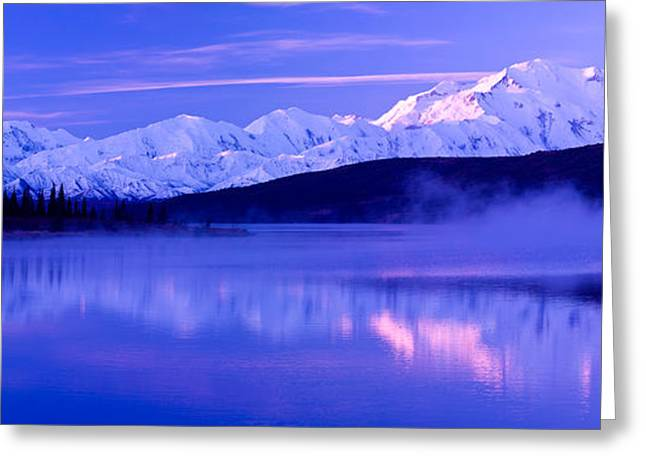 Denali National Park Greeting Cards - Reflection Of Snow Covered Mountains Greeting Card by Panoramic Images