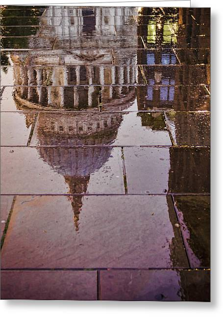 Puddle Greeting Cards - Reflection of St Pauls Greeting Card by Heather Applegate