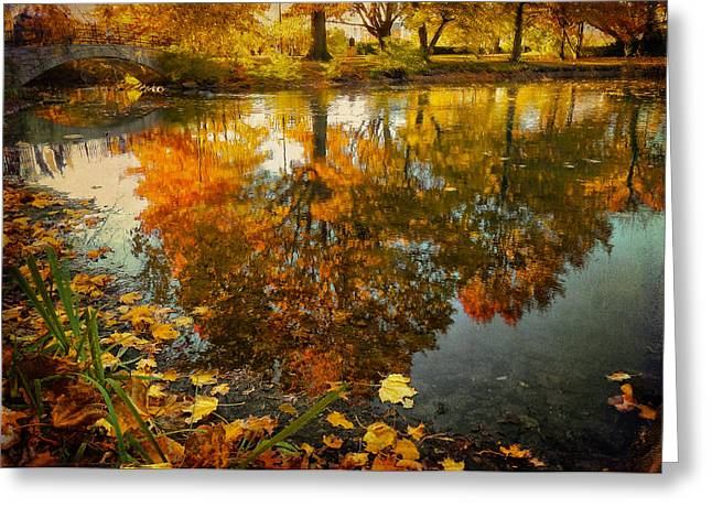 Boston Ma Greeting Cards - Reflection of the fall Greeting Card by Ludmila Nayvelt