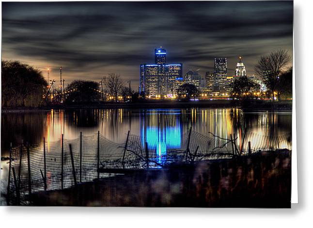 Ren Cen Greeting Cards - Reflection Of The Heart Of Detroit MI Greeting Card by B And G Art