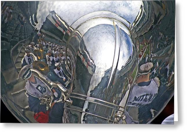 University Park Greeting Cards - Reflection of the Marching Band Greeting Card by Tom Gari Gallery-Three-Photography